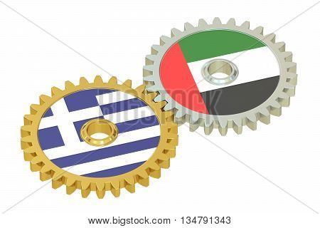 UAE and Greece flags on a gears 3D rendering isolated on white background