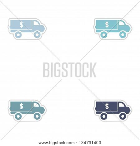 Set of paper stickers on white  background car money