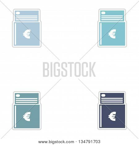 Set of paper stickers on white  background checkbook