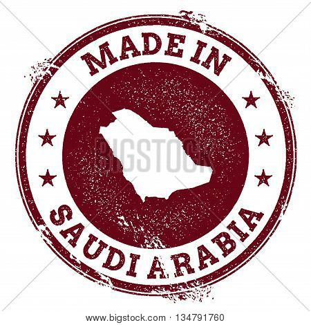 Saudi Arabia Vector Seal. Vintage Country Map Stamp. Grunge Rubber Stamp With Made In Saudi Arabia T