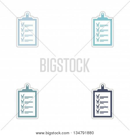 Set of paper stickers on white  background form