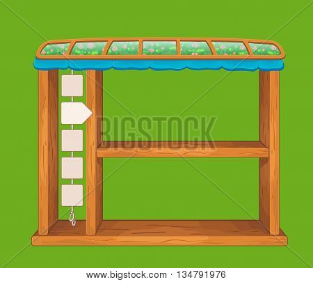 Set of game wooden shelf window with glass roof