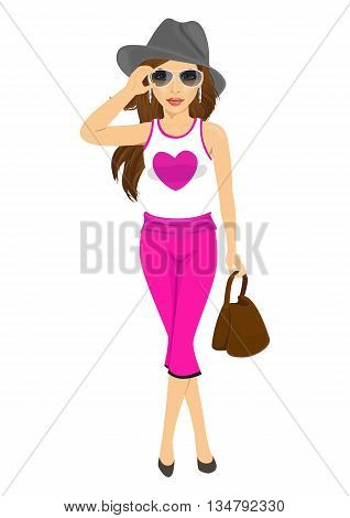 beautiful young woman posing in sunglasses, hat, handbag and sleeveless T-shirt with heart over white background