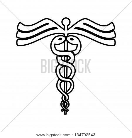 medical and health care concept represented by caduceus icon, flat and isolated design