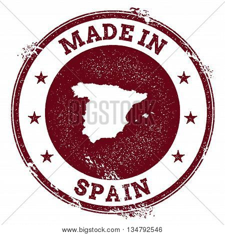 Spain Vector Seal. Vintage Country Map Stamp. Grunge Rubber Stamp With Made In Spain Text And Map, V
