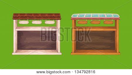 Set of  game wooden store windows set