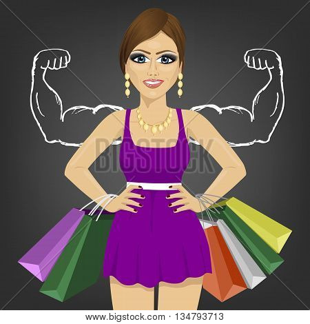 Powerful girl with shopping bags standing with hands on hips over blackboard