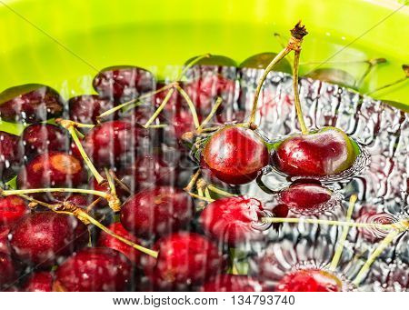red cherries immersed in water and green