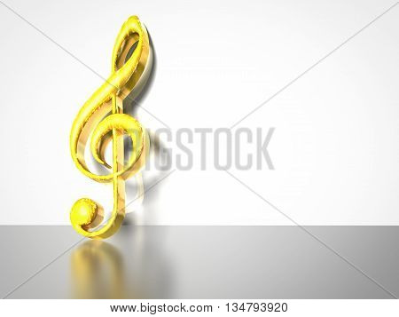3D illustration of a gold treble clef