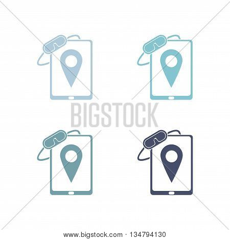 Set of paper stickers on white  background mobile phone Mask
