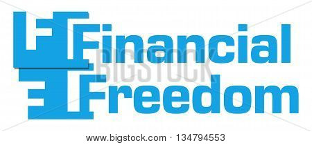 Financial Freedom text over green blue background.