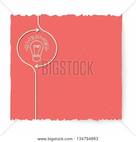 Red slip of paper and icon of bulb