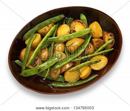 Plate of baked potatoes with green beans