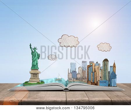 Sketch of New York City and the Statue of Liberty over open book. Book - the key to success and internal development. Sign and symbol. New York. The Statue of Liberty. Capital of the world. America. Symbol of freedom and democracy.