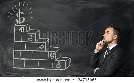 Businessman looking at hand-drawn sketch of stairs with dollar symbol at the top. Business concept. Business idea. Increase in profits. Making money. Prosperous business. Setting and achieving goals. Success and development.