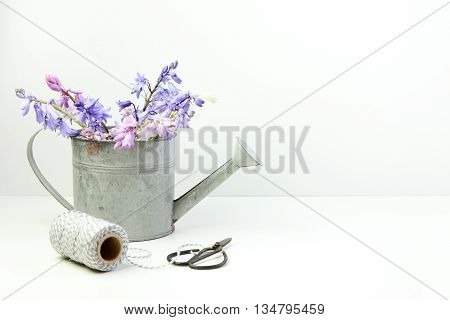Styled stock floral image bluebells in a little tin watering can with scissors and twine. Copy space for your business promotion instagram message or headline.