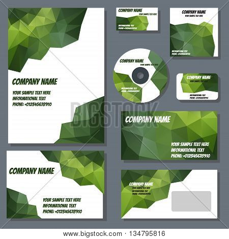 Set of templates for cd disks envelopes notebooks credit card business card and invitation card with polygonal design. Corporate style vector.