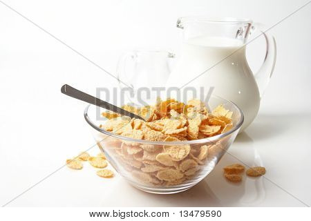 Breakfast with corn-flakes