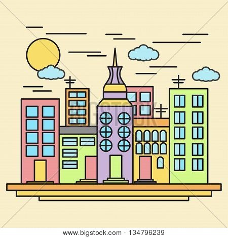 City bulidings landscape line art vector illustration