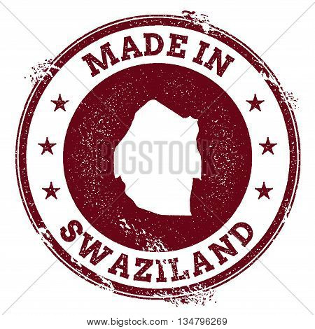 Swaziland Vector Seal. Vintage Country Map Stamp. Grunge Rubber Stamp With Made In Swaziland Text An