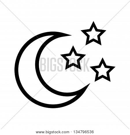 Sky representated by moon and  star shape of five points design over isolated and flat illustration