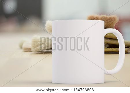 Mockup Styled Stock Product Image white mug that you can add your design to