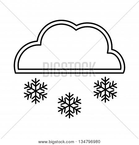 Snowing representated by snowflake with star figure design over isolated and flat illustration