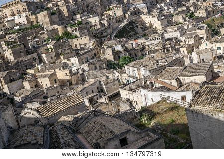 Panoramic view of Matera old town. Beautiful ancient city in Italy. Medieval concept. Troglodyte houses. Unesco