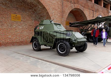 Nizhny Novgorod, Russia - May 3.2013. Tourists visiting the armored car BA-64 at exhibition of military equipment  of times of World War II in the Kremlin of Nizhny Novgorod.