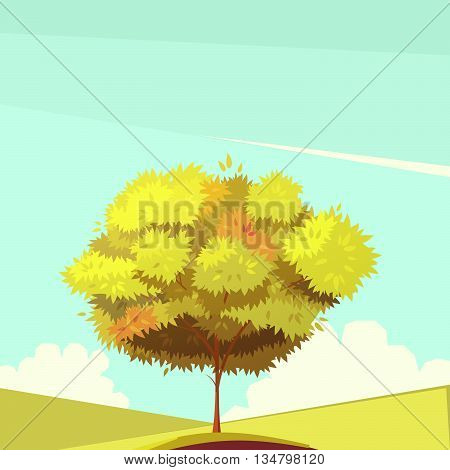 Autumn tree with root on field in sunny weather retro cartoon flat vector illustration