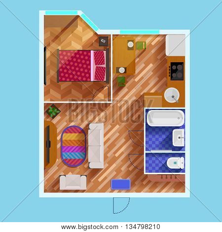 Colorful floor plan of apartment with one bedroom living room kitchen bathroom toilet and furniture flat vector illustration