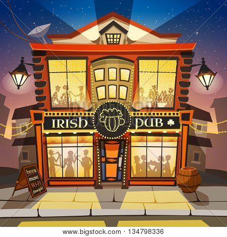 Irish Pub Cartoon Background.  Irish Pub Building Vector Illustration.  Irish Pub Design. Irish Pub Decorative Illustration.