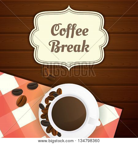 Coffee break illustration with cup of coffee and coffee beans red checkered tablecloth on wooden table. Wooden background. Vector.