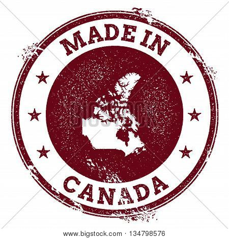 Canada Vector Seal. Vintage Country Map Stamp. Grunge Rubber Stamp With Made In Canada Text And Map,