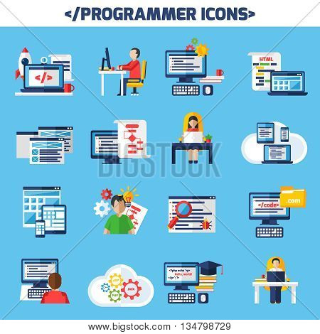 Programmer flat color decorative icons set of people sitting at desk with laptop and cup of coffee and images of page with algorithm and html code isolated vector illustration.