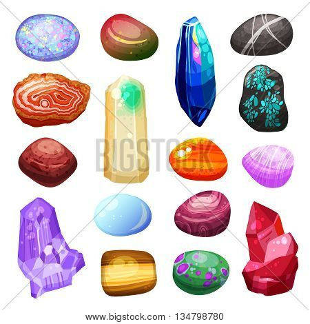 Bright multicolored crystal stones and rocks of different size and shape with various textures on white background cartoon isolated vector illustration