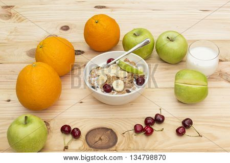cereals, Fresh corn flakes with fruits and milk