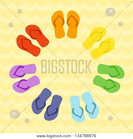 Rainbow flip flops in circle on the sand. Template for invitation, banner, card, poster, flyer, website designs. Art vector illustration.