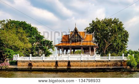 Classical Thai architecture on Chao Phraya River in Bangkok Thailand.
