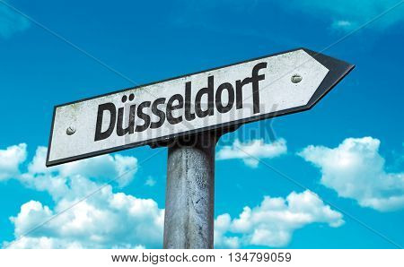 Dusseldorf road sign in a concept image
