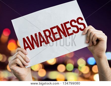 Awareness placard with bokeh background