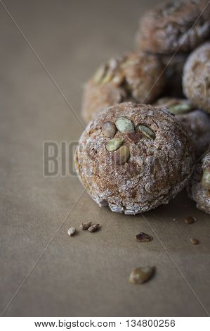 Homemade whole wheat rolls with plenty of seeds