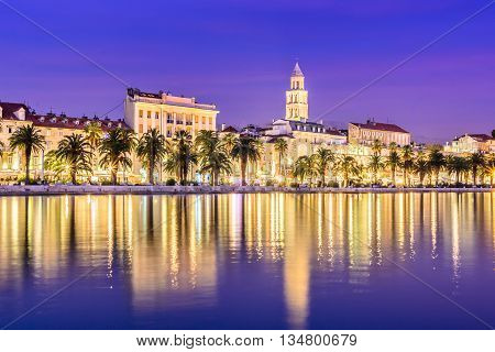 Waterfront view at Split city old center promenade in blue hour, Croatia.