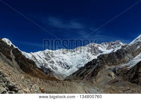Scenic view of Kanchenjunga peak at sunset, Himalayas, Nepal.