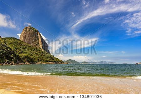 View of Red Beach the Guanabara Bay entrance and Sugar Loaf hill in the neighborhood of Urca Rio de Janeiro