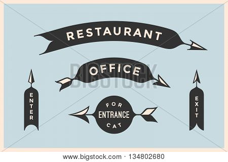 Set of vintage arrows and banners with inscription Restaurant, Office, Entrance, Enter, Exit. Design elements in retro style arrow signs on color background. Vector Illustration