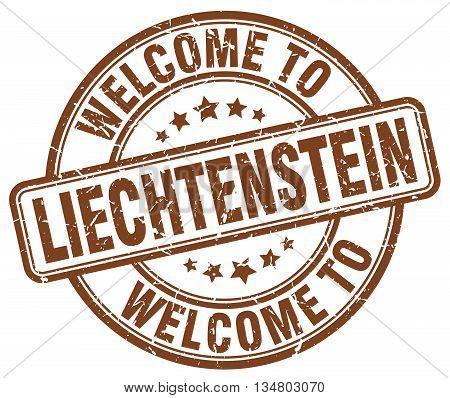 welcome to Liechtenstein stamp. welcome to Liechtenstein.