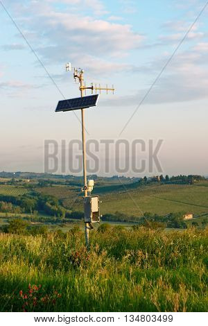 Weather station in the field, Tuscany, Italy