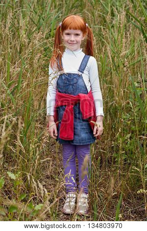 Beautiful little red-haired girl with freckles standing in tall grass