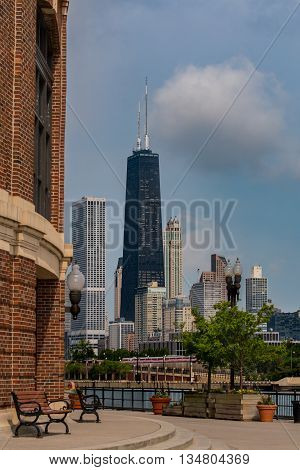 Chicago United States: May 26 2016: Hancock Tower from Navy Pier